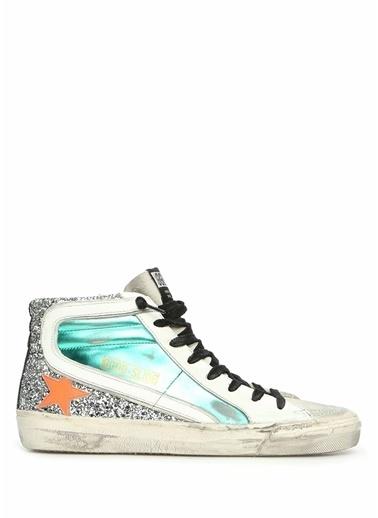 Golden Goose en Goose Colorblocked Yıpratma Detaylı Kadın Deri Sneaker 101540782 Beyaz
